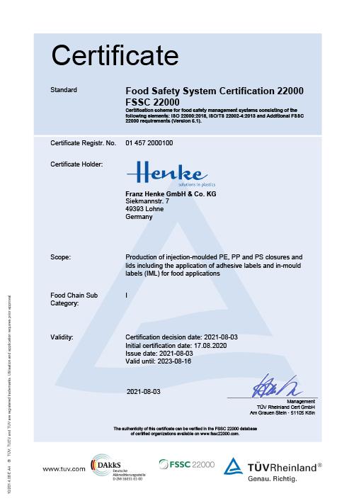 Zertifikat FSSC 22000 Packaging